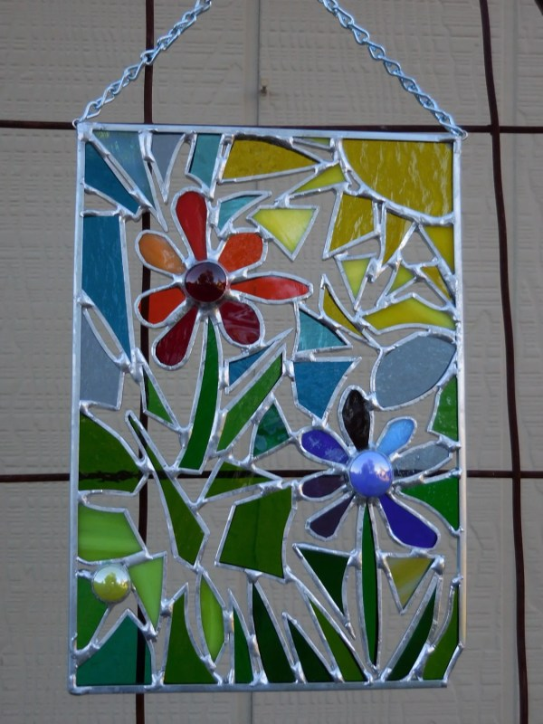 Stained Glass Panel Abstract With Flowers-handmade-window