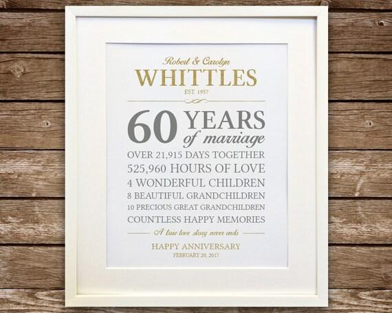 60th Anniversary Gift Diamond Anniversary Anniversary Gift