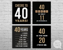 40th Birthday Black And Gold Glitter Printable Signs