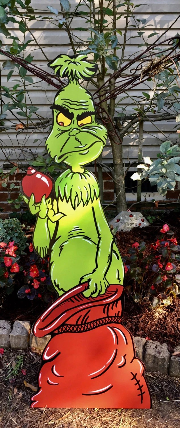 The Grinch Is Coming Over The Christmas Fence By HashtagArtz
