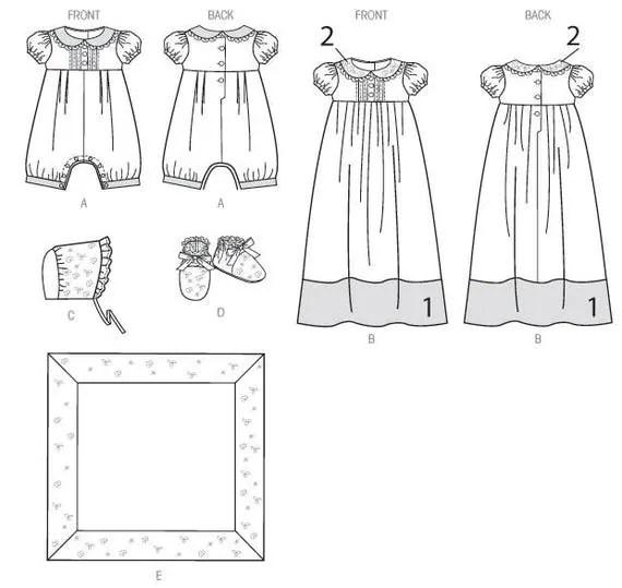 Sewing Pattern Infants' Babies Christening Sets, Girl-Boy