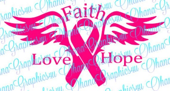 Download Faith Love Hope Breast Cancer Ribbon with Wings SVG