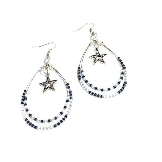 Dallas Cowboy inspired Earrings Beaded hoop earrings