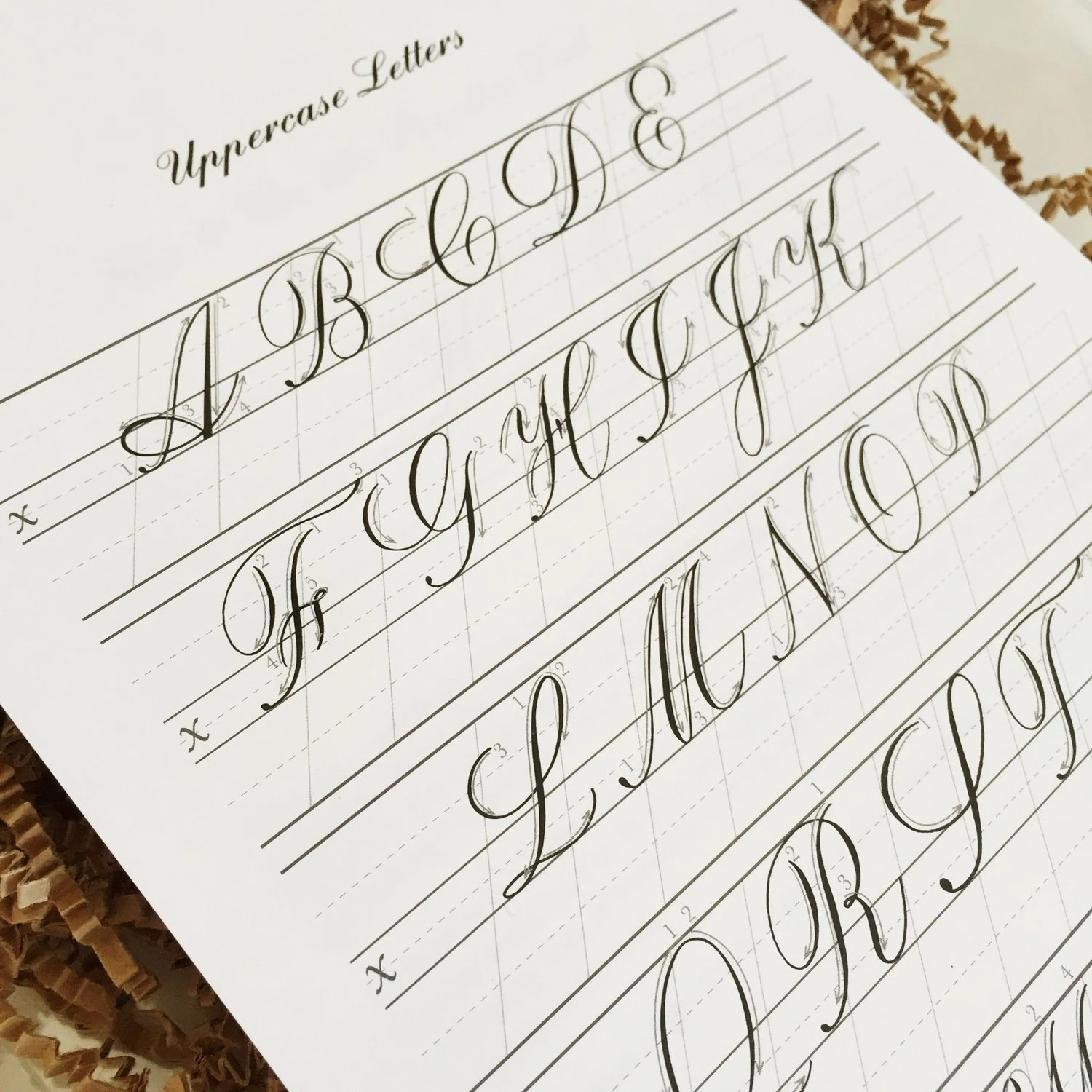 Copperplate Practice Pad Uppercase Letters From Logoscalligraphy On Etsy Studio