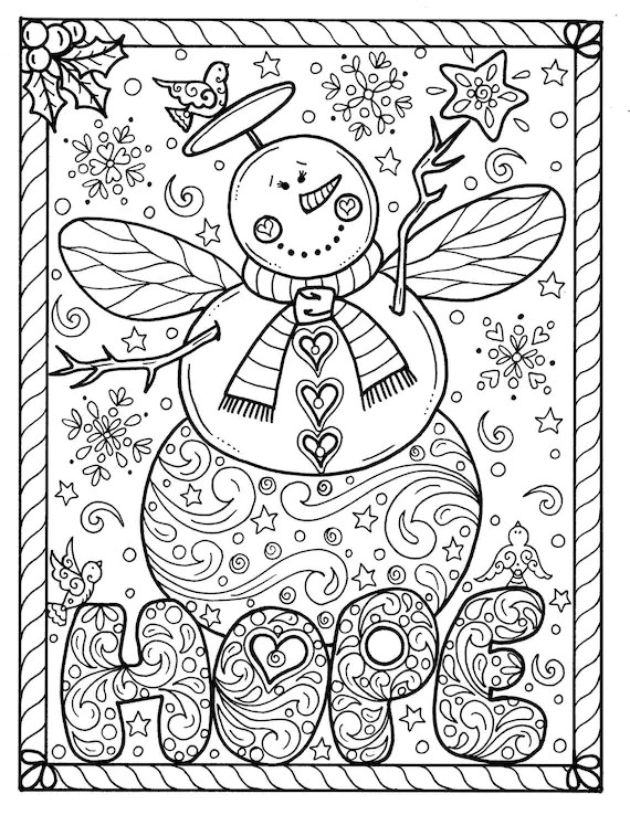 Snow Angel Instant download Christmas Coloring page Holidays | christmas coloring sheets for adults