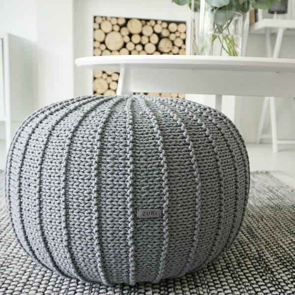 Large Grey Floor Pouf Ottoman Knitted Knit Zurihouse