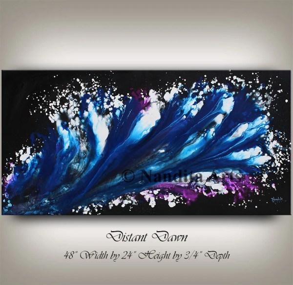 Blue Modern Painting Purple Art Contemporary