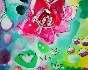 drawing neon rose