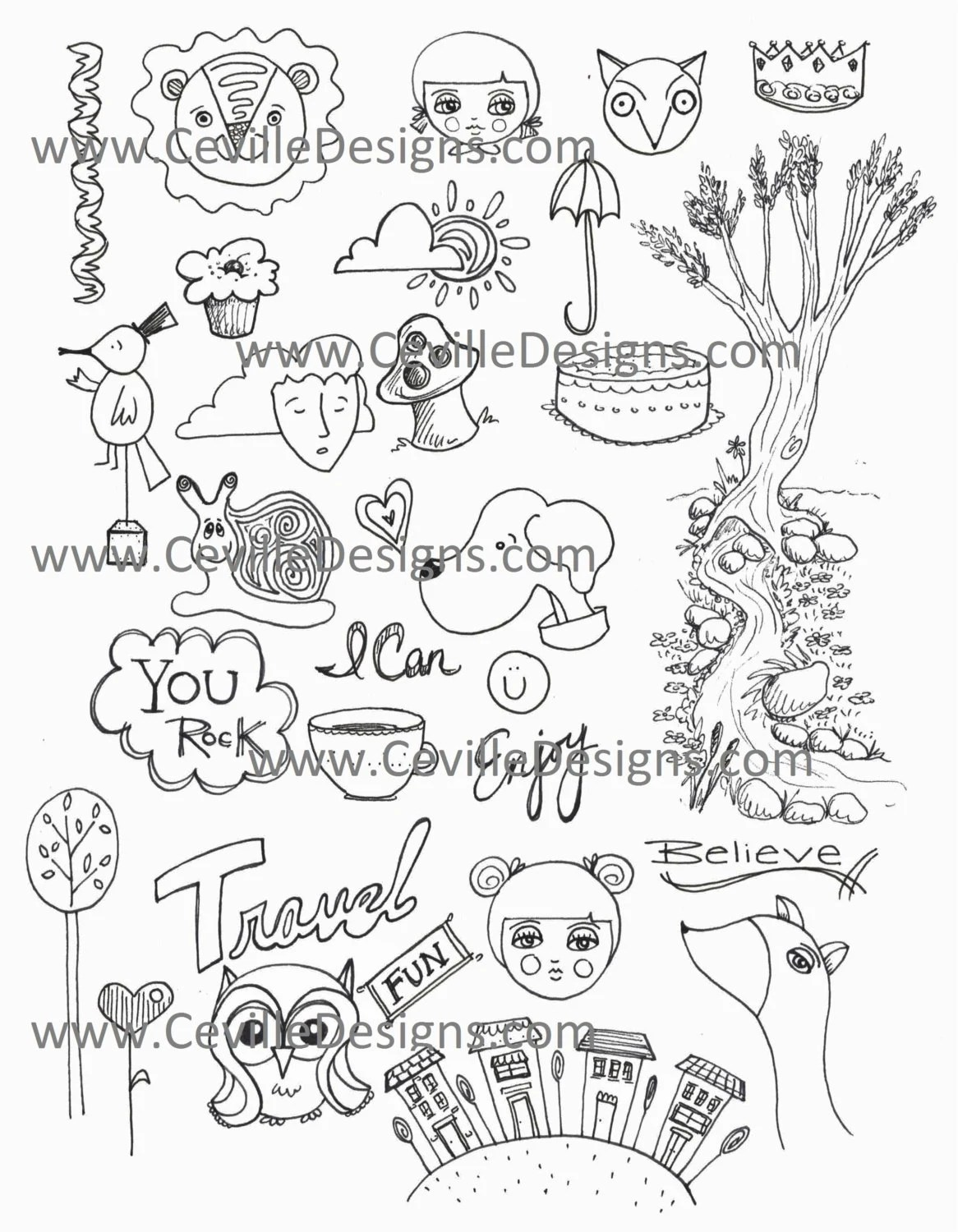 Black and White Coloring Pages Collage Sheet Cartoons Words