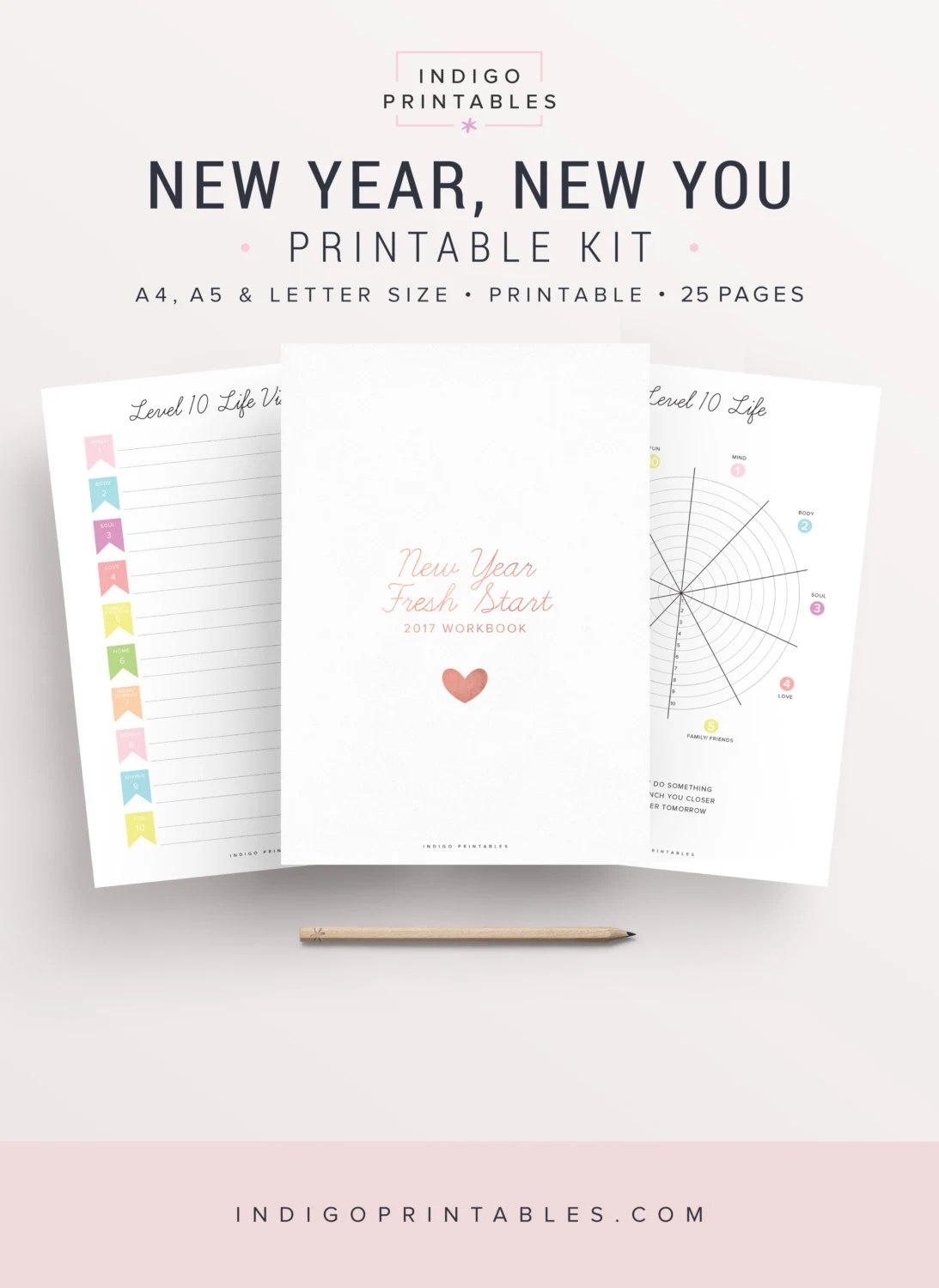 New Year Planner Resolutions Planner Level 10 Life Inserts