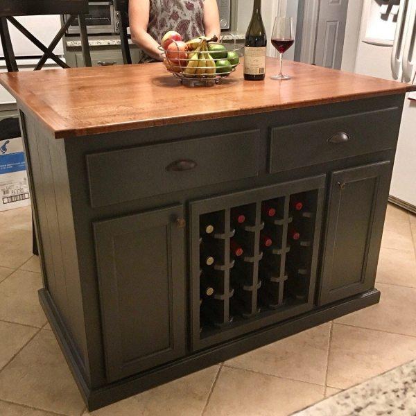 Kitchen Island With 10 Overhang And Wine Rack