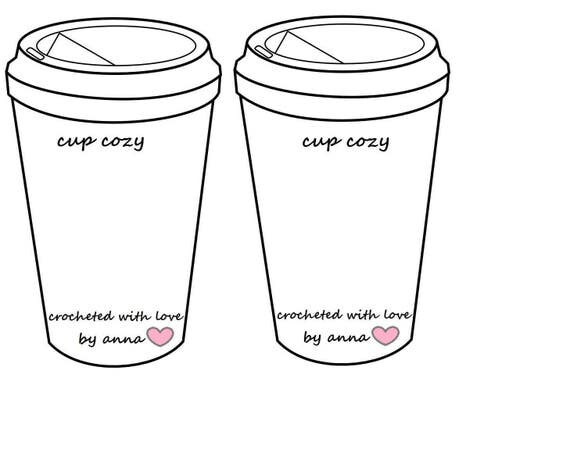 Crochet Coffee Cup Cozy To Go Cup Template Inserts Printable