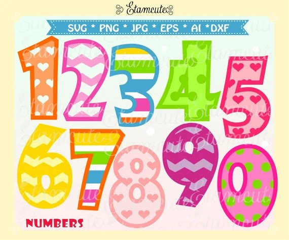 Download Numbers SVG cut files, kids number clip art, vector number ...
