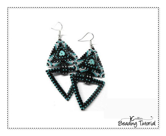Peyote Stitch Triangle Pendant Beading Pattern Seed Bead