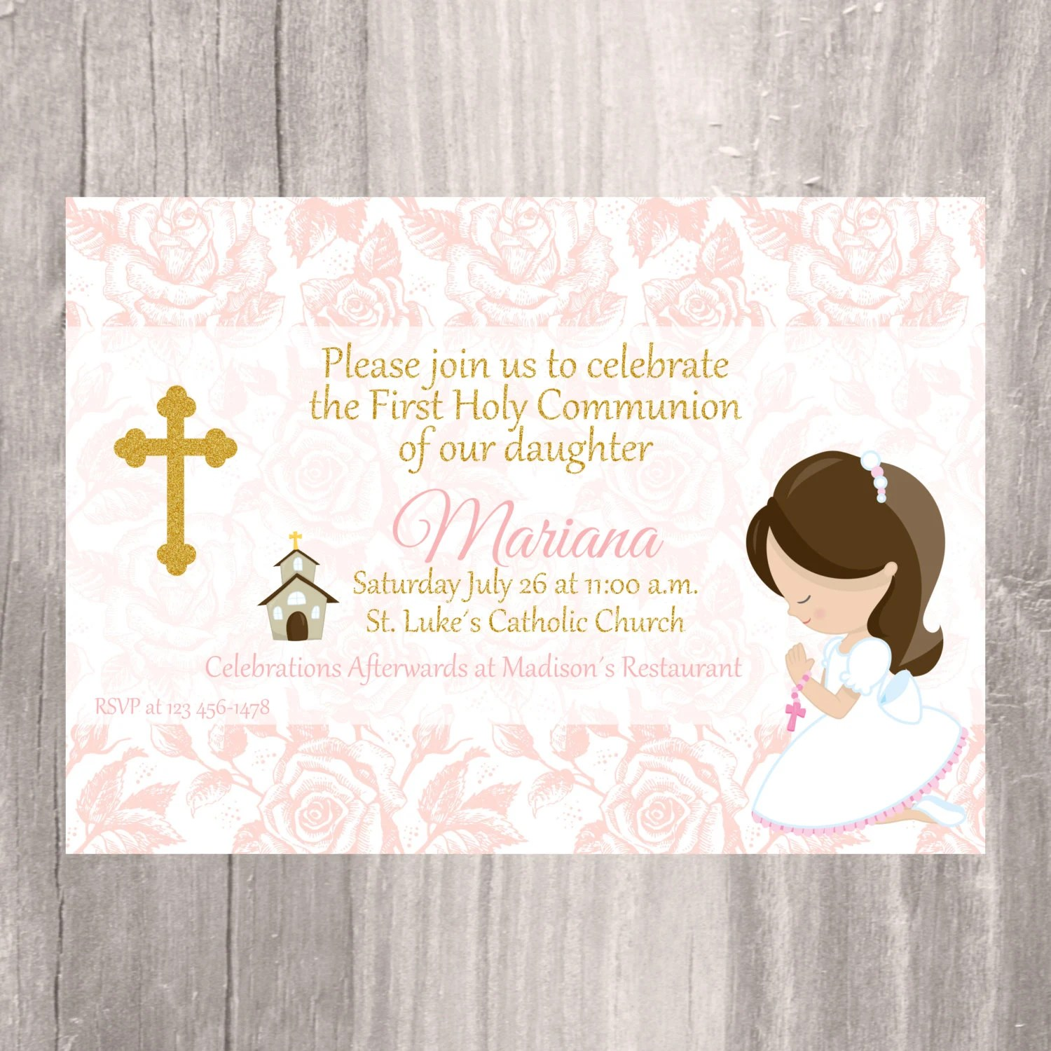 First Holy Communion Invite Printable Invitation Girl First