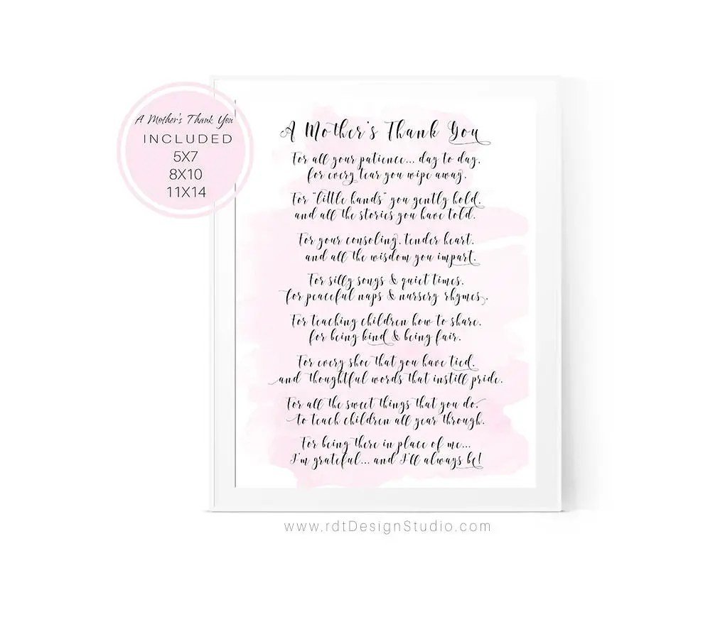 Teacher Appreciation Gift A Mother's Thank You Poem