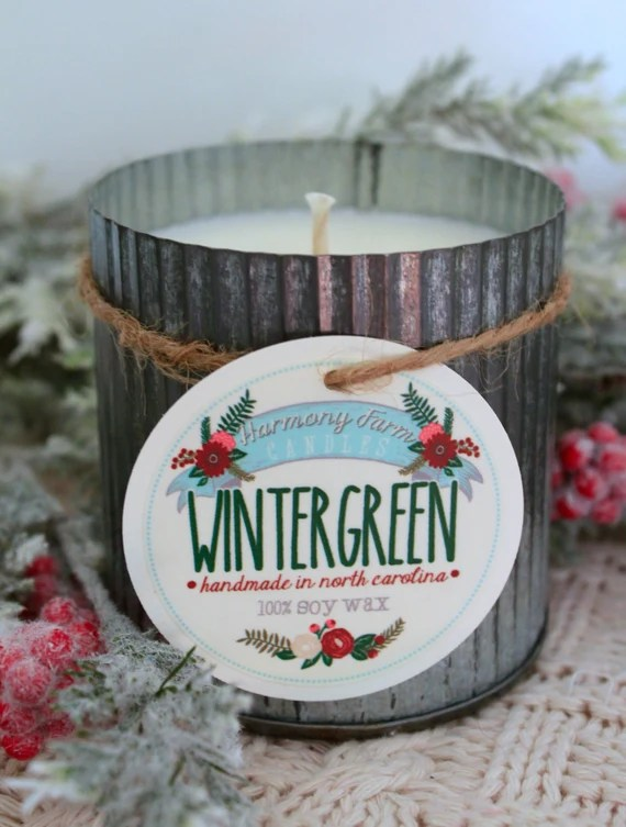 Wintergreen Soy Wax Candle in 12 oz. Zinc Tin - Candle for Home, Gift, Housewarming, Hostess, Birthday, Present, Holidays, Christmas