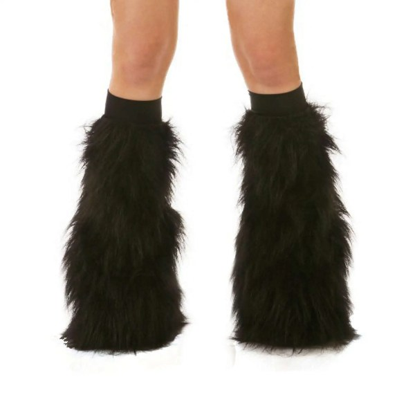 Black Rave Fluffies Fluffy Leg Warmers Furry Boot Covers