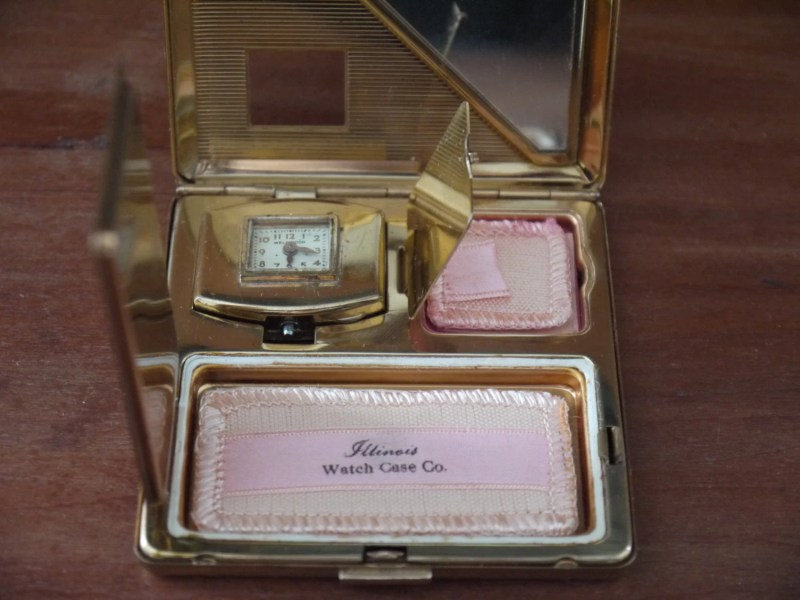Vintage Compact Case with a watch!  Illinois Watch Case Company.  Vintage. 1940s, Includes Original Refill Form 25 and 10 Cents For a Refill