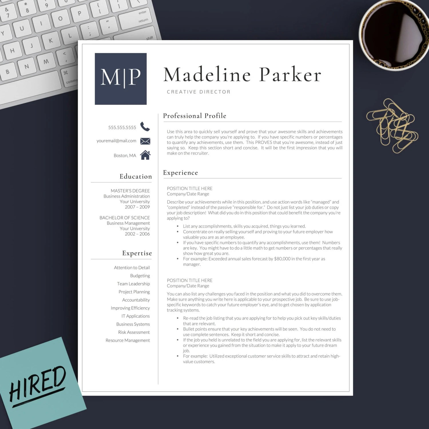 Professional Resume Template For Word Amp Pages 1 2 And 3