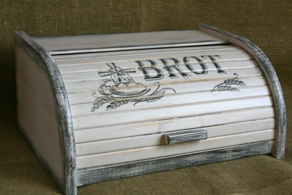 Vintage Shabby Chic Wooden Bread Box