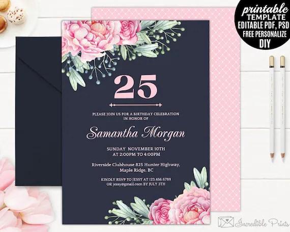 Navy 25th Birthday Invitation Template Printable Pink