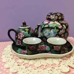 Chinese Kitchen Accessories Drain Clog Vintage Black Floral Children 39s Tea Set