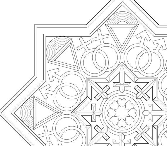 LGBTQ Mandala coloring page digital download from