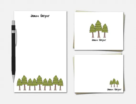 Personalized Pine Tree Stationery Set - Personalized Pine Tree Stationery - Stationery for Men - Men's Stationery - Pine Tree Stationery