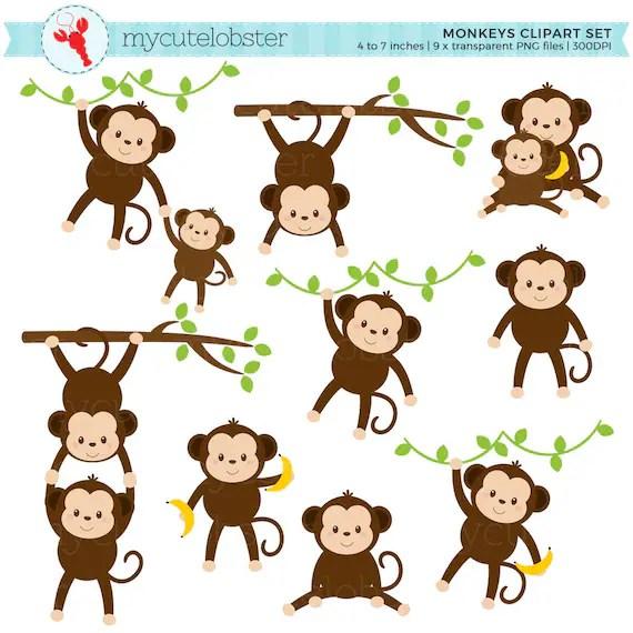monkeys clipart set clip art