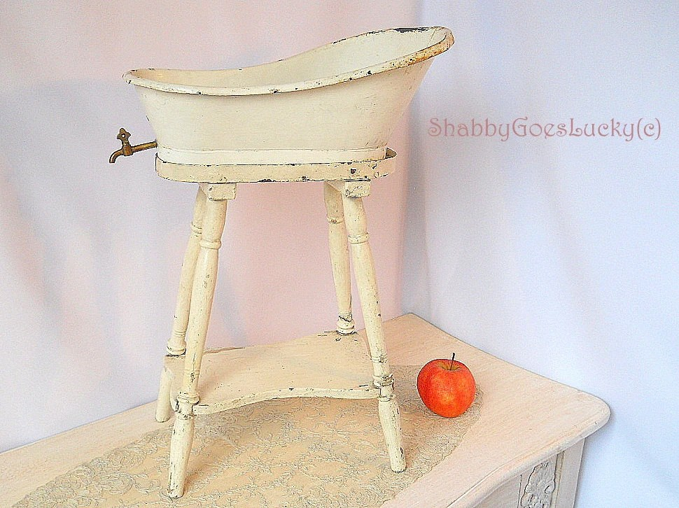 Antique 1920s Doll Crib Large Old Doll Bed Made Of White