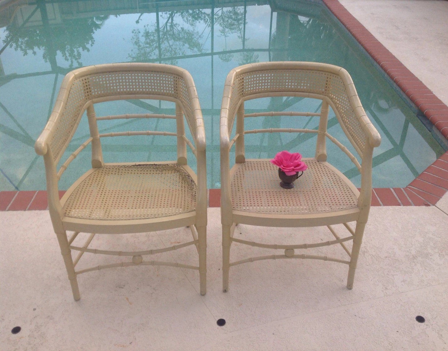 bamboo cane back chairs plush desk chair faux chinese chippendale arm pair of