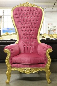 Beautiful High Back Party Throne Chair Pink/Gold by