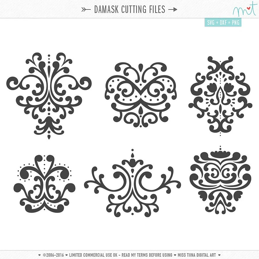 Damask SVG DXF Digital Die Cut Files for cutting machines