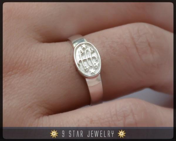 Brs3 Silver Baha' Ringstone Symbol Ring Sizes 2