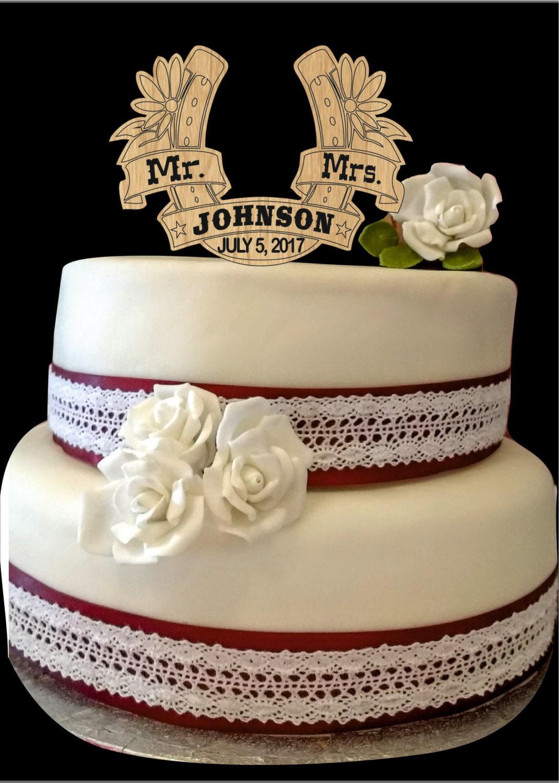 Personalized Mr and Mrs Wedding Cake topper Horseshoe Wedding
