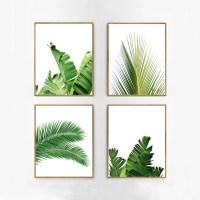 Set of 4 Tropical Leaves Leaf Prints set Green Wall art