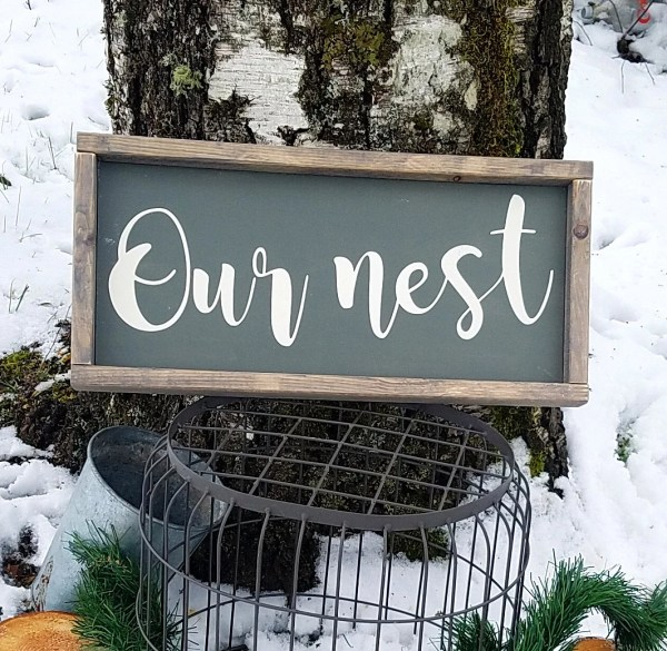 Nest-framed Wood Sign-rustic Wall