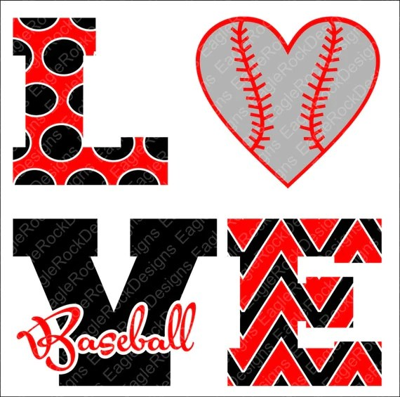 Download Love Baseball SVG, DXF, EPS, Png Cut File for Cameo and ...