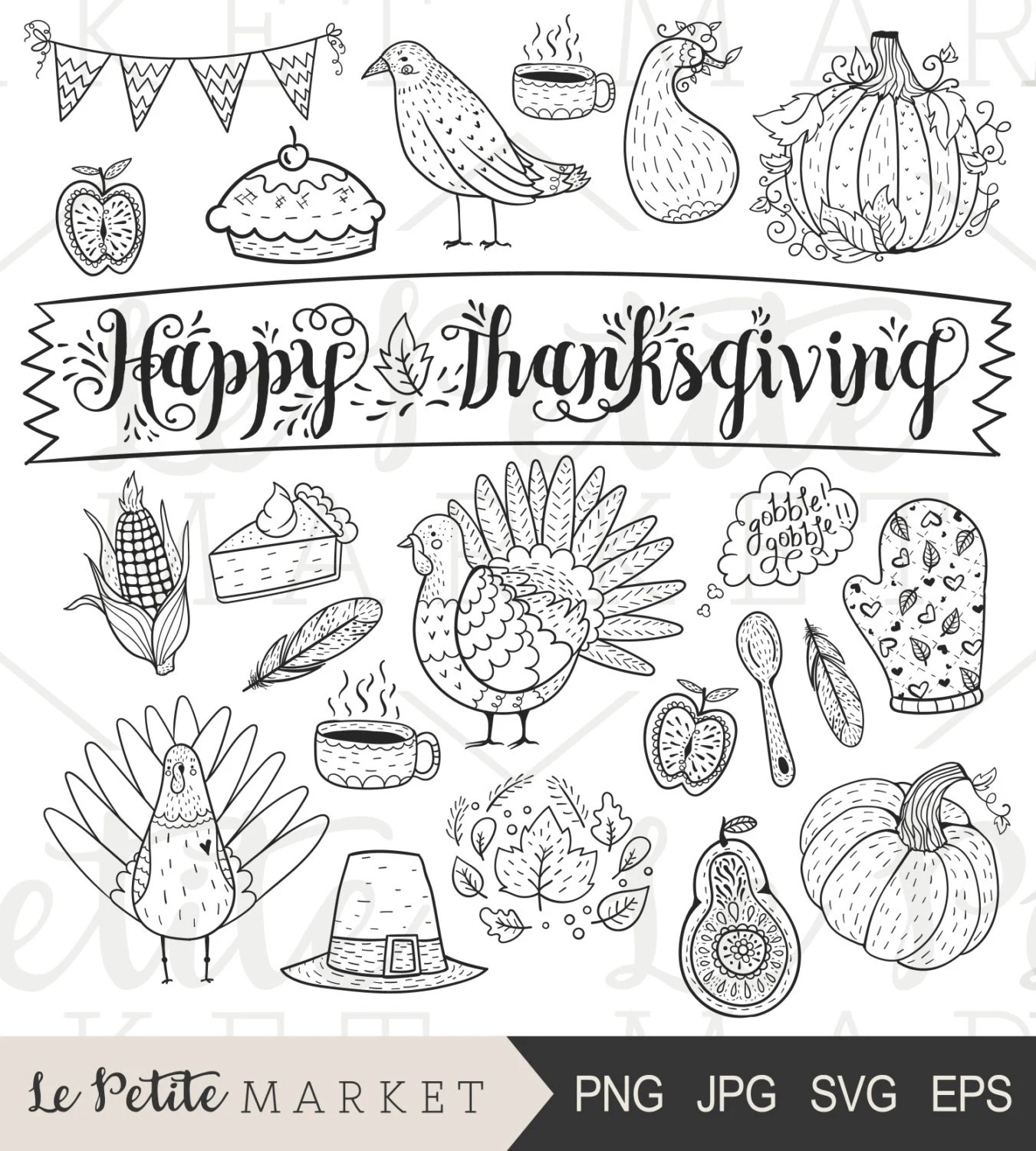 Thanksgiving Clipart Cute Hand Drawn Thanksgiving Clip Art