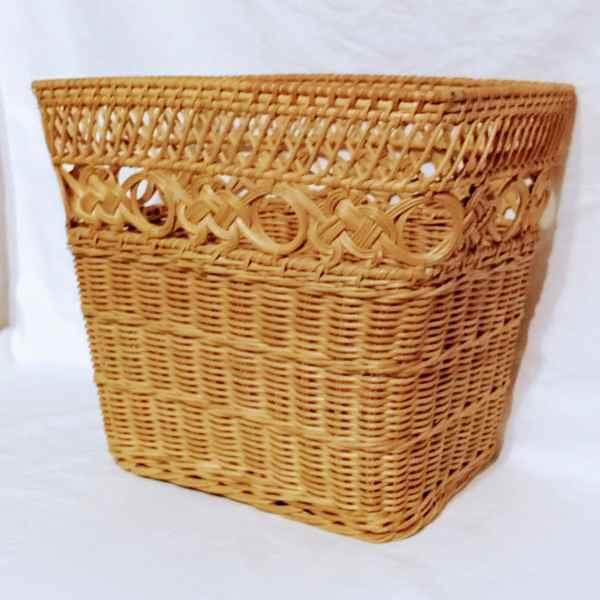 Natural Wicker Waste Basket Honey Finish Rectangular