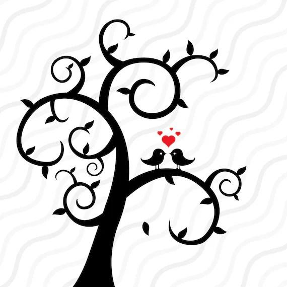 Download Love Bird Tree SVG Tree SVG Wedding svg Valentine SVG Cut