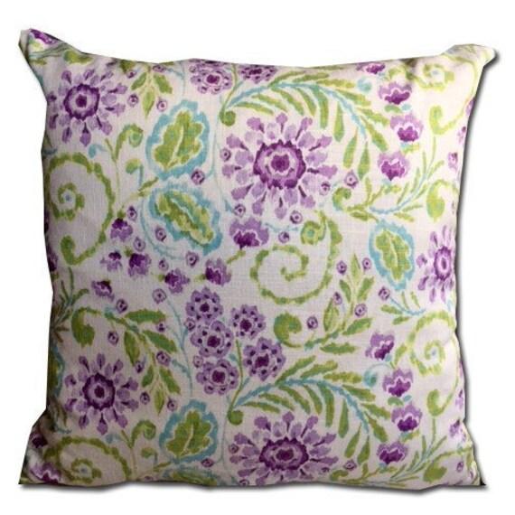 20x20 Purple and aqua Floral Decorative pillow cover