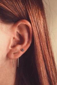 Double Piercing Earring Double Earrings Staple Earrings Two