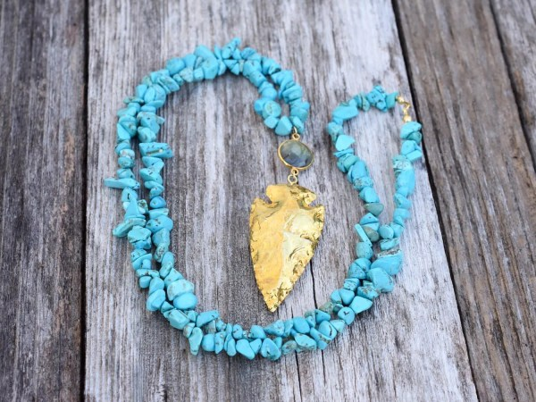 Southwest Gold Turquoise Arrowhead Necklace December