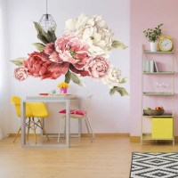 Giant Peony Wall Stickers Floral Wall Mural Watercolor