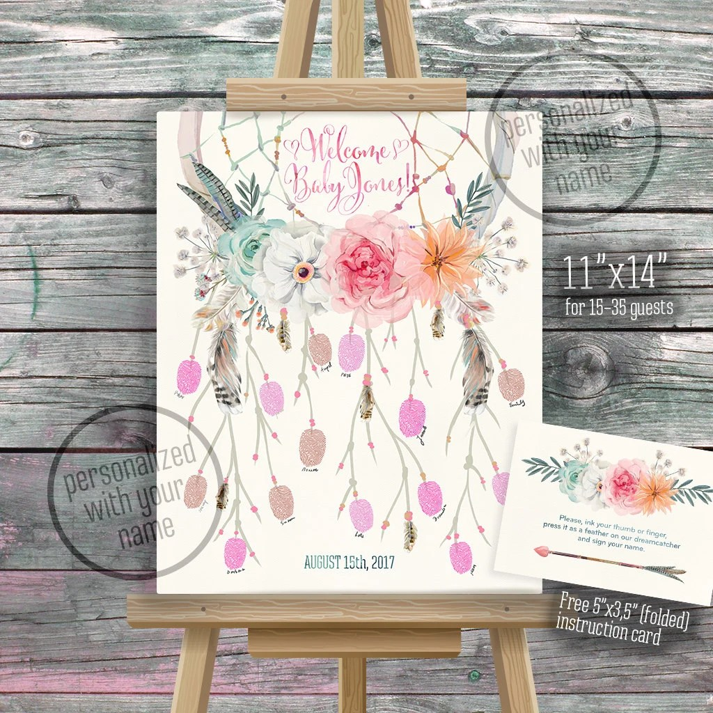 Dreamcatcher Thumbprint Guestbook Fingerprint Dream Catcher