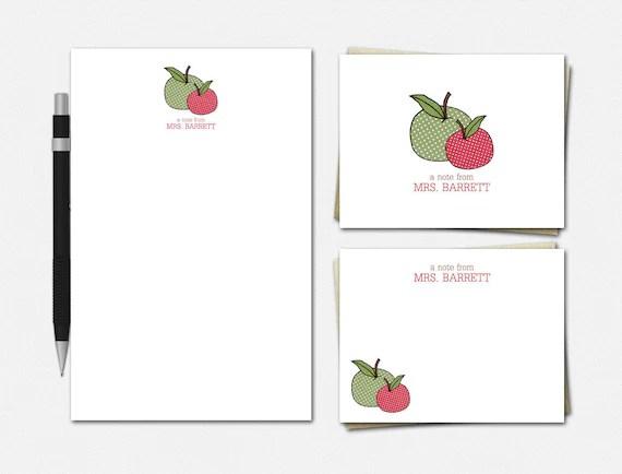 Personalized Teacher Stationery Set: Polka Dot Apples