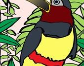 Tropical bird print. Ches...