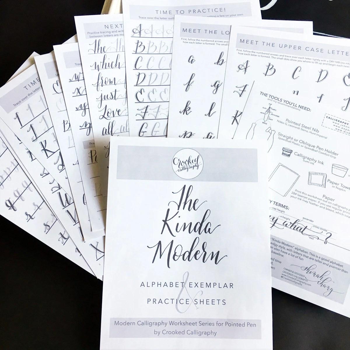 Modern Calligraphy Printable Worksheet